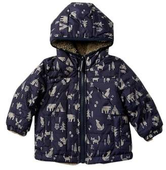London Fog Allover Print Reverseable Cozy Jacket (Baby Boys)