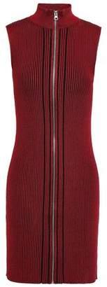 McQ Striped Ribbed-knit Mini Dress