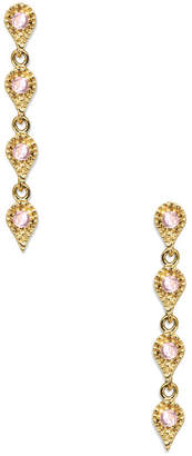 Eddera Isabella 18K Plated Rose Quartz Drop Earrings