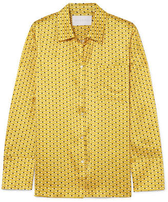 ASCENO - Printed Silk-satin Pajama Shirt - Yellow