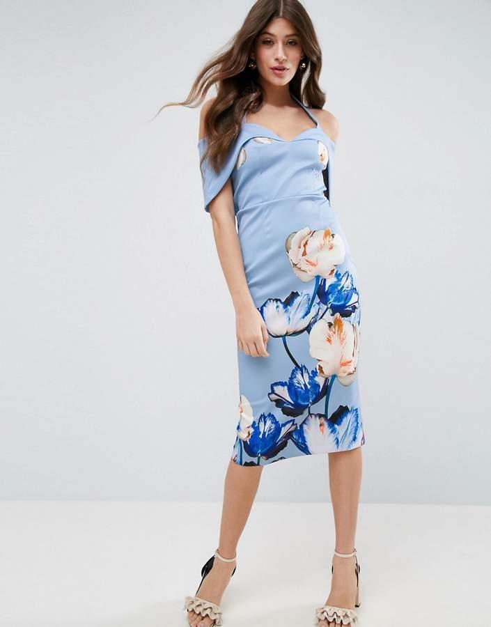 AsosASOS Digital Blue Floral Placed Midi Dress