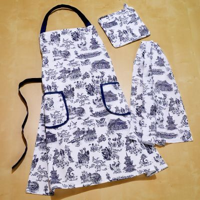 Japanese Toile Apron, 2 Potholders or 4 Kitchen Towels