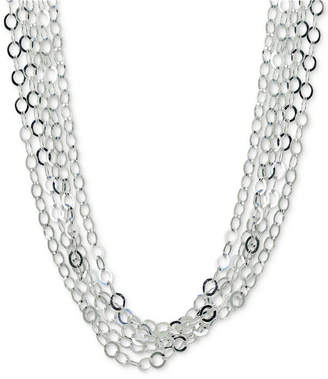 "Giani Bernini Interlocking Circle Link Multi-Strand 18"" Statement Necklace in Sterling Silver"