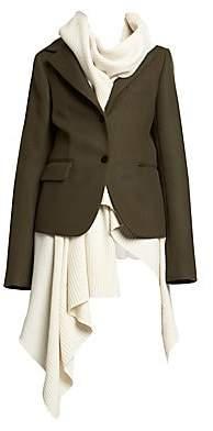 Sacai Women's Melton Wool & Knit Layer Coat
