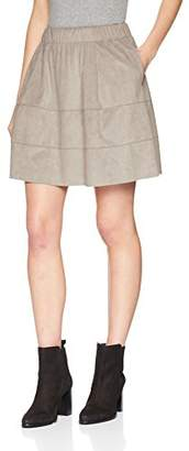 Noisy May Women's Nmlauren Faux Suede Skirt Noos, Grey Ash, (Size: Small)