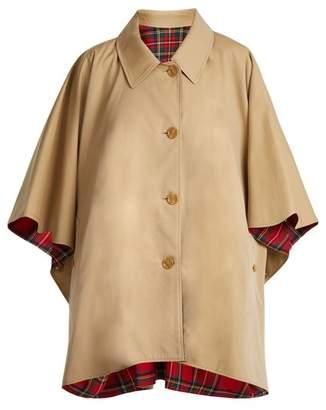 Burberry Reversible Wool Twill Cotton Gabardine Cape - Womens - Beige