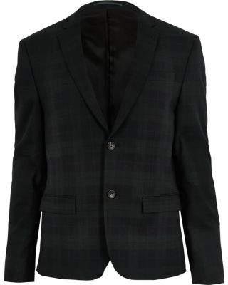 River Island Green plaid skinny suit jacket