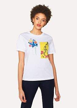 Paul Smith Women's White Cotton 'Flower Pot' Print T-Shirt