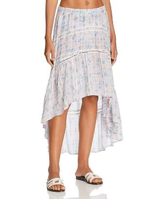 Surf Gypsy Tile Print High/Low Skirt Swim Cover-Up