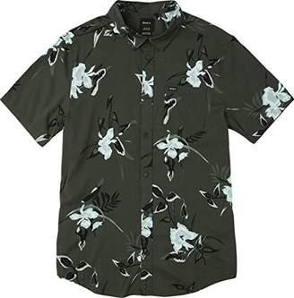 RVCA Men's Moonflower Short Sleeve Woven Button Down Shirt