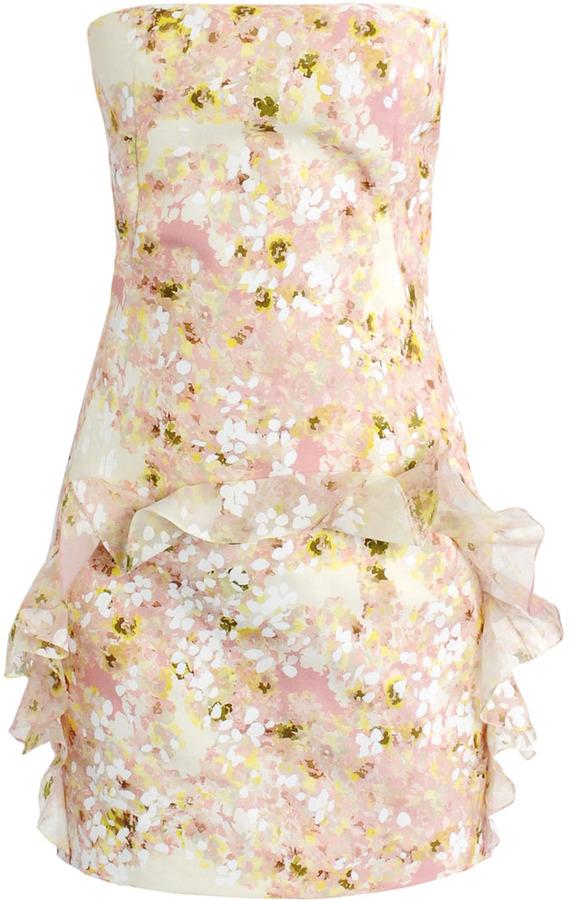 Giambattista Valli All-over floral organza strapless dress