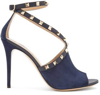 Valentino Rockstud Cross Strap Suede Pumps - Womens - Navy