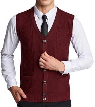 e3c6d14bb2e08 Lyamazing Men s Solid Color Argyle Pattern Button Down Sweater Vest with  Pockets