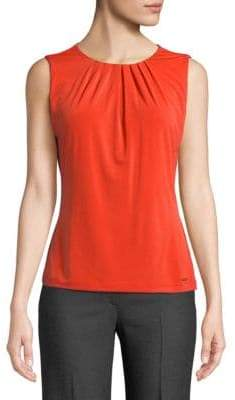 Calvin Klein Sleeveless Pleated Neckline Blouse