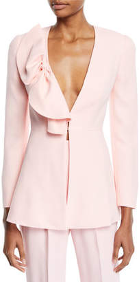 DELPOZO Deep-V Bow-Detail Long-Sleeve Crepe Jacket