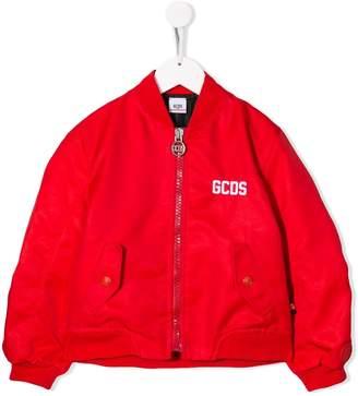 Gcds Kids logo print bomber jacket