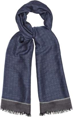 Reiss Our last order date for Christmas has now passed ROGER GEOMETRIC PATTERNED SCARF Airforce Blue