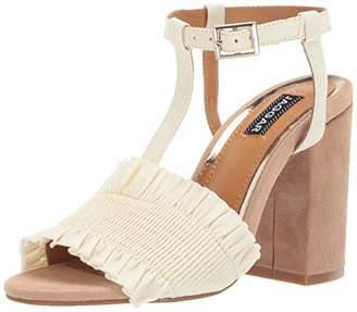 Jaggar Women's Step UP Open Toe Strappy Ruffle Block Heel Shoe