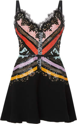 Elie Saab Sequin Stripe Embroidered Silk Mini Dress