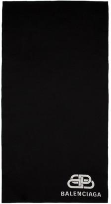 Balenciaga Black and White Blanket Scarf