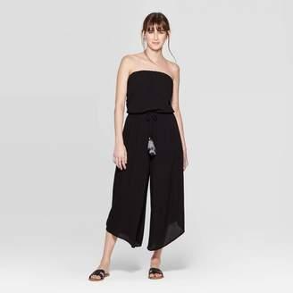 Xhilaration Women's Strapless Square Neck Tie Waist Cropped Jumpsuit - XhilarationTM Black