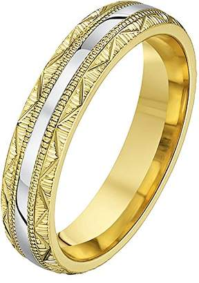 Theia His & Hers 14ct Yellow and White Gold Two-Tone 4mm Serrated and Zig Zag Groove Wedding Ring - Size Q