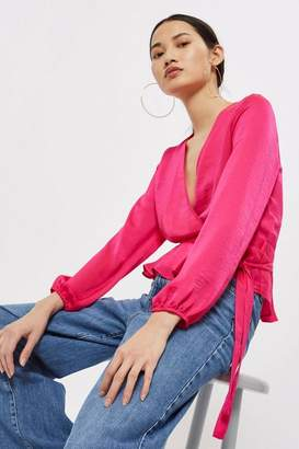 Topshop Satin Wrap Blouse