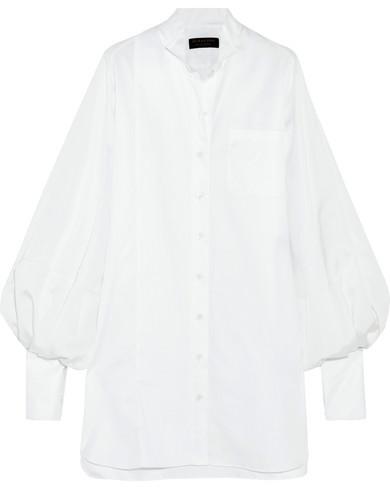 Burberry Burberry - Pintucked Herringbone Cotton And Faille Shirt Dress - White