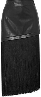 Fringed Leather Mini Skirt - Black