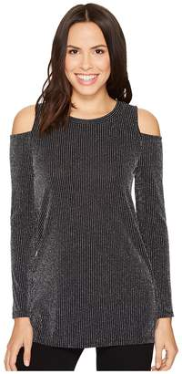 MICHAEL Michael Kors Sparkle Long Sleeve Cold Shoulder Top Women's Clothing