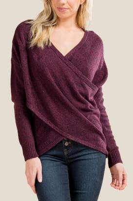 francesca's Dana Wrap Sweater - Purple