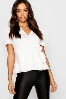 boohoo Puff Sleeve Frill Peplum V Neck Top