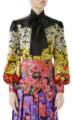 Gucci Degrade Floral Print Silk Tie Neck Blouse