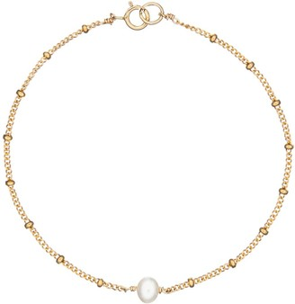 Lily & Roo Gold Single Pearl Bracelet On Satellite Chain