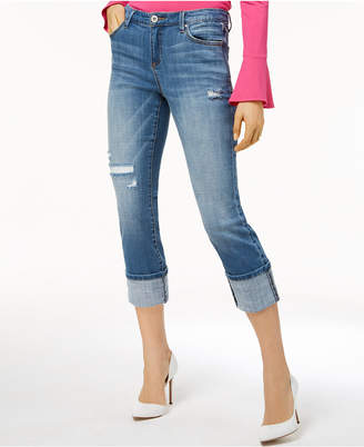 INC International Concepts I.N.C. Curvy-Fit Deconstructed Crop Jeans, Created for Macy's