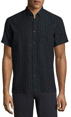 Billy Reid Tuscumbia Short-Sleeve Jacquard Shirt, Black/Blue