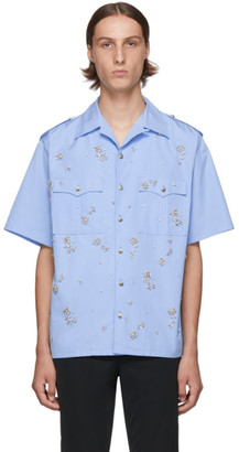 Prada Blue Crystal Bowling Shirt