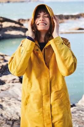 Joules Womens Raine Print Hooded Mid Length Rain Coat - Gold