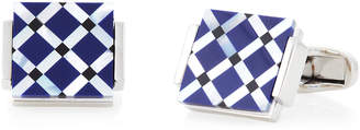 Hart Schaffner Marx Silver-Tone & Blue Diamond-Pattern Cuff Links