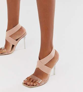 Public Desire Exclusive Only elastic perspex heeled sandal in beige