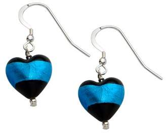 Glass Heart Bellissi Murano Venezia Small Murano Black and Aqua Shape Sterling Silver Earrings