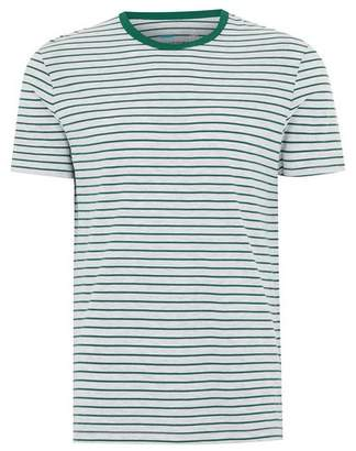Topman Mens Green Greay Striped T-Shirt