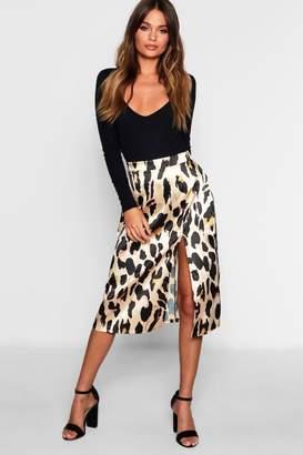 boohoo Leopard Satin Split Midi Skirt