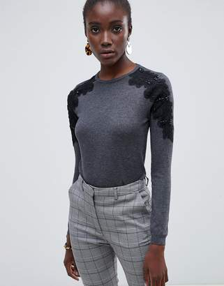 Warehouse sweater with lace shoulder detail in gray