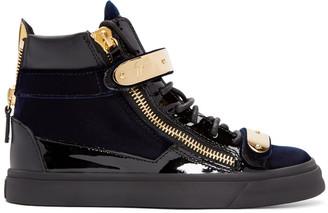 Giuseppe Zanotti Navy Velvet London High-Top Sneakers $895 thestylecure.com