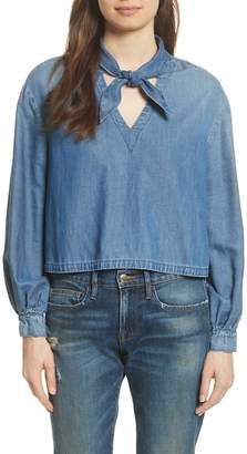 Frame Tie Neck Denim Blouse