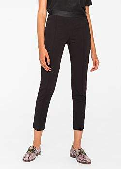 Paul Smith Women's Slim-Fit Black Stretch-Cotton Trousers With Waist Zip