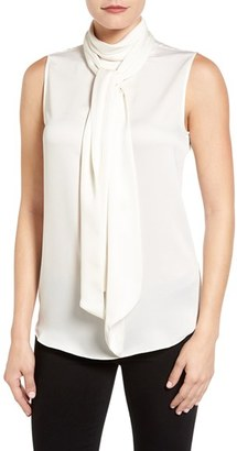 Vince Camuto Sleeveless Charmeuse Bow Neck Blouse $79 thestylecure.com