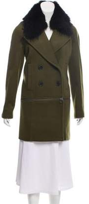 Veronica Beard Fur-Trimmed Wool-Blend Coat w/ Tags