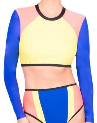 Donatella Sport Women's Neoprene Cropped Bikini Swimsuit Top